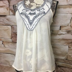 H.I.P. Sheer Flowy Sleeveless Tank with Embroidery